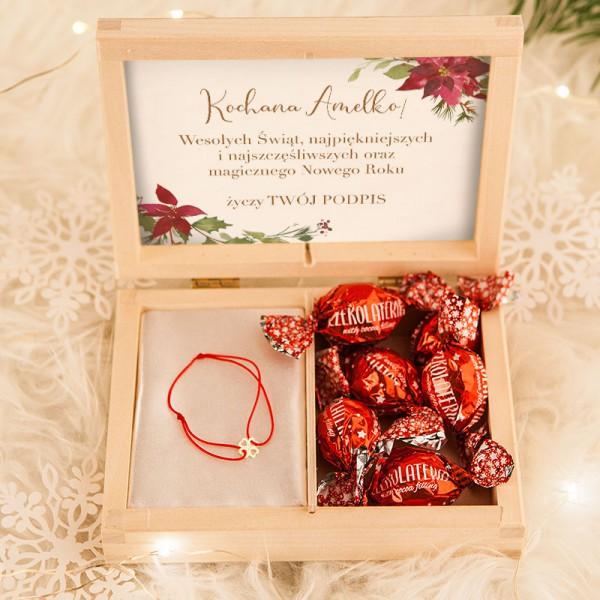 PREZENT świąteczny dla dziecka bransoletka z koniczynką Na Szczęście Z Imieniem POZŁACANA