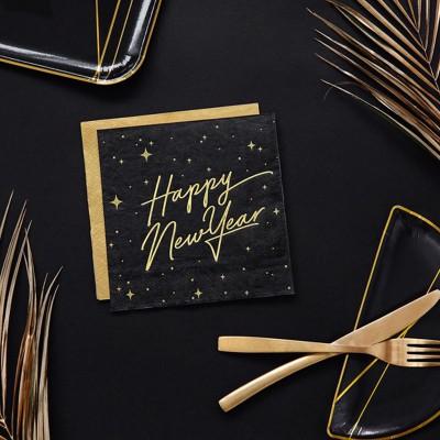 SERWETKI papierowe Happy New Year 33x33cm CZARNE 20 sztuk