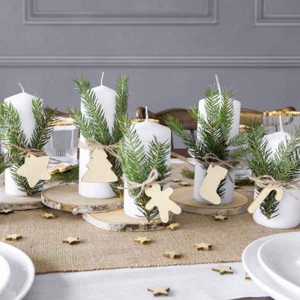 ZAWIESZKI do prezentów świątecznych drewniane MIX 12szt