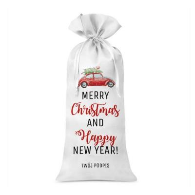 WOREK na wino świąteczne satynowy Z TWOIM PODPISEM Merry Christmas