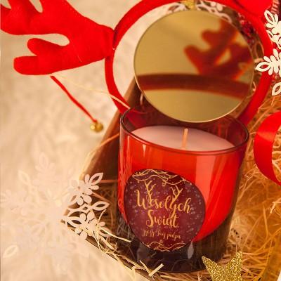 ŚWIECA świąteczna zapachowa w szkle na prezent Z PODPISEM Czerwona