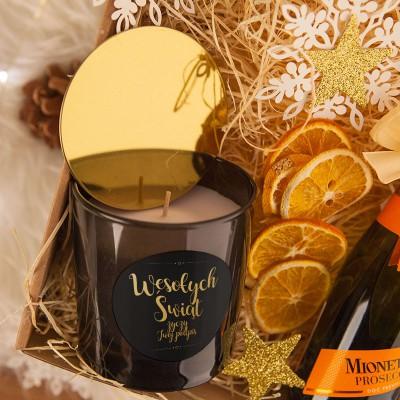 ŚWIECA świąteczna zapachowa w szkle na prezent Z PODPISEM Ciemnoszara