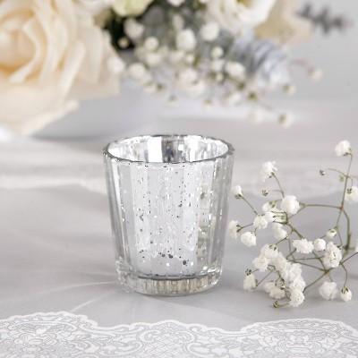ŚWIECZNIKI świąteczne szklaneczki na tealighty SREBRNE 4szt