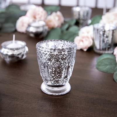 ŚWIECZNIKI świąteczne szklaneczki efektowne Srebro ala kryształ 4szt