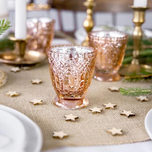 ŚWIECZNIKI świąteczne szklaneczki efektowny Rosegold ala kryształ 4szt