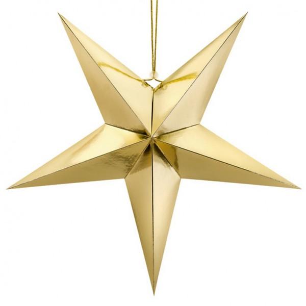 DEKORACJA świąteczna Gwiazda papierowa ZŁOTA 70cm