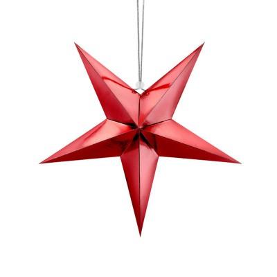 DEKORACJA świąteczna Gwiazda papierowa CZERWONA 45cm