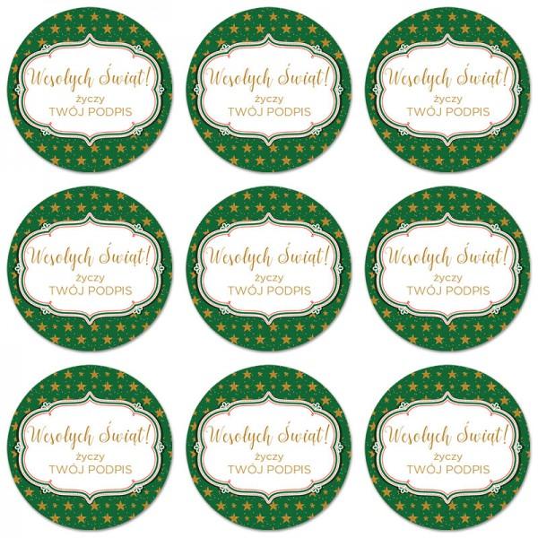 NAKLEJKA do prezentów świątecznych Z TWOIM PODPISEM Zielone Święta 1szt