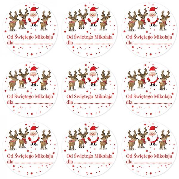 NAKLEJKI do prezentów świątecznych dla dzieci NA IMIONA 10szt