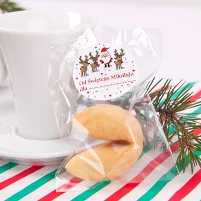 CIASTECZKO świąteczne z wróżbą dla dzieci Mikołaj i renifery