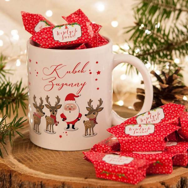 PREZENT świąteczny Kubek+krówki Z IMIENIEM Mikołaj i renifery