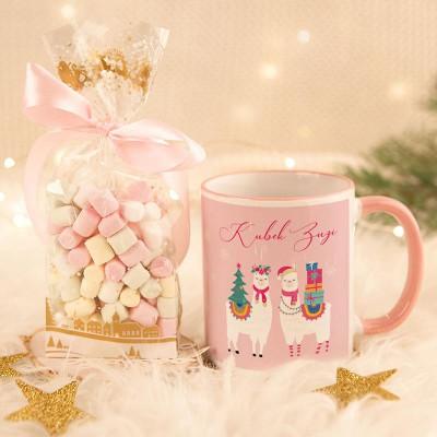 KUBEK świąteczny na prezent + pianki Marshmallow Z IMIENIEM Świąteczna Lama