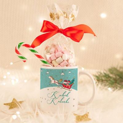 KUBEK świąteczny na prezent + pianki Marshmallow Z IMIENIEM Christmas Unicorn