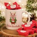 PREZENT świąteczny Kubek+krówki Z IMIENIEM Christmas Reindeer