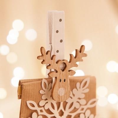 KLAMERKI świąteczne dekoracyjne do prezentów Renifer 6szt