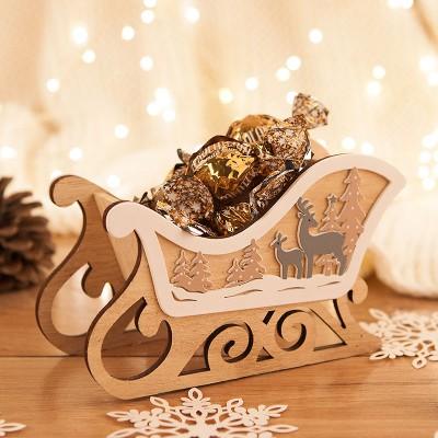 SANKI drewniane na prezent świąteczny z reniferami PIĘKNE