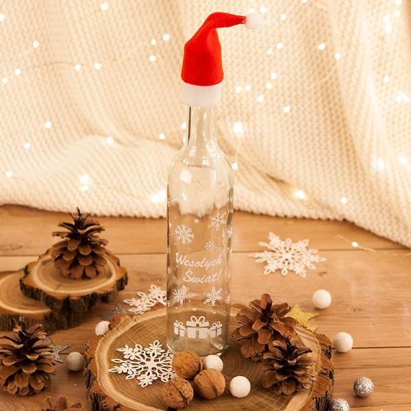 BUTELKA na prezent świąteczny z czapeczką z nadrukiem Wesołych Świąt 500ml