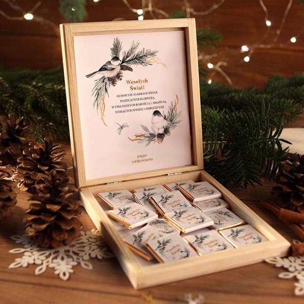 CZEKOLADKI na prezent świąteczny w pudełku Słodka Niespodzianka Z PODPISEM 12 sztuk