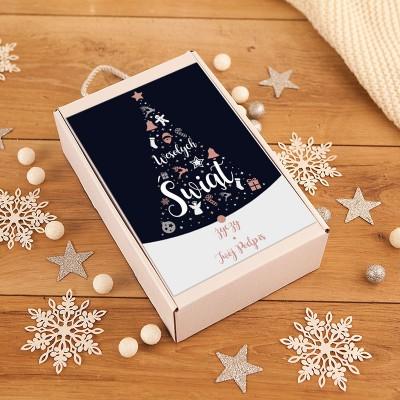 PREZENT świąteczny Ozdoby Bożonarodzeniowe Rosegold Z PODPISEM