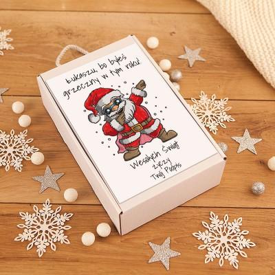 PREZENT świąteczny dla Niego butelka na bimber w pudełku Z PODPISEM