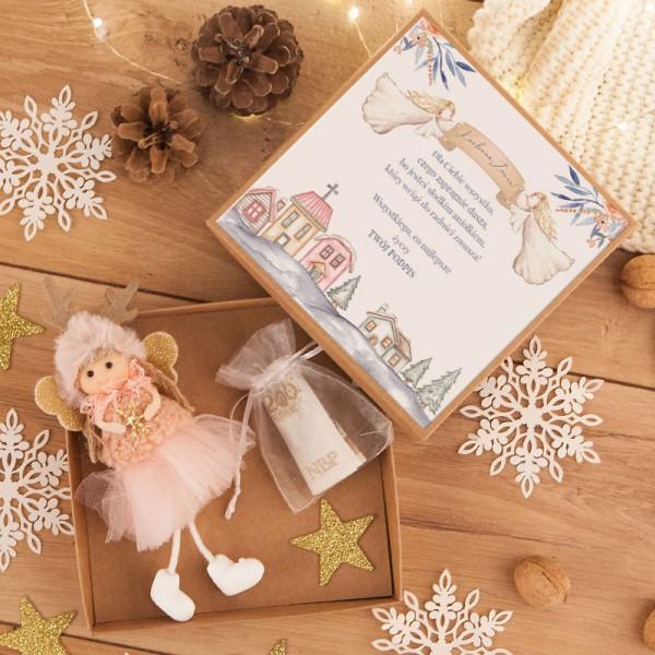 PREZENT świąteczny dla dziecka Aniołek Reniferek w pudełku na pieniążki Róż