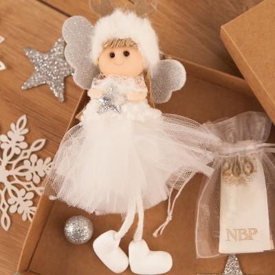 PREZENT świąteczny dla dziecka Aniołek Reniferek w pudełku na pieniążki Krem
