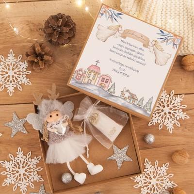 PREZENT świąteczny dla dziecka Aniołek Reniferek w pudełku na pieniążki Szary