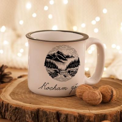 KUBEK ceramiczny retro Z IMIENIEM Kocham góry 330ml