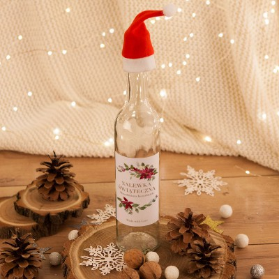 BUTELKA na nalewkę prezent świąteczny z czapeczką Z TWOIM PODPISEM Poinsecja 500ml