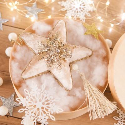 KOSZ prezentowy świąteczny Z PODPISEM Welurowa Gwiazda