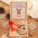 PREZENT świąteczny dla dziecka w pudełku na pieniążki Renifer Z PODPISEM