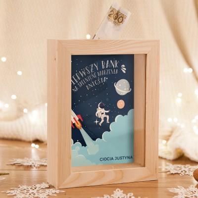 SKARBONKA drewniana na prezent świąteczny z szybką Z IMIENIEM Astronauta