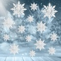 GIRLANDA świąteczna na okno Śnieżynki EFEKT 3D 14szt