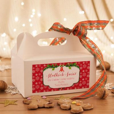 PUDEŁKA na ciasto świąteczne z rączką Z TWOIM PODPISEM Czerwone Święta