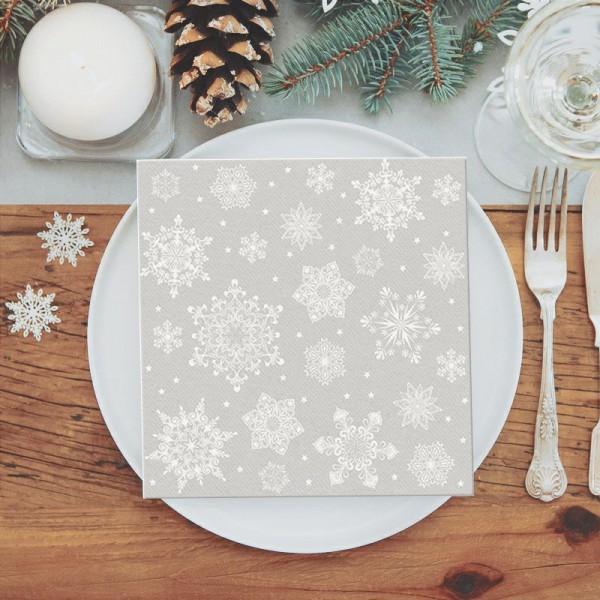 SERWETKI świąteczne flizelinowe Classic Christmas 40x40cm 50szt SREBRNE