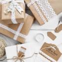 KORONKI bawełniane do ozdabiania prezentów mix 4,5m 3szt BIAŁE