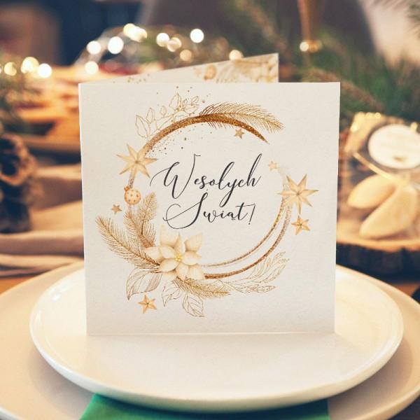 KARTKA świąteczna z Twoimi życzeniami Złote Święta (+złota koperta)