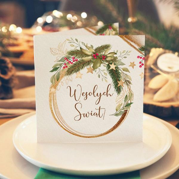 KARTKA świąteczna z Twoimi życzeniami Świąteczny Natrój (+złota koperta)