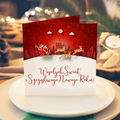 KARTKA świąteczna z Twoimi życzeniami Renifery (+złota koperta)