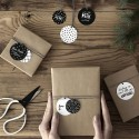 ZAWIESZKI świąteczne do prezentów kółka biało-czarne 12szt MIX 5cm