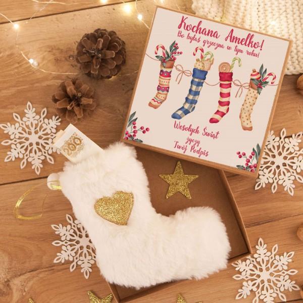 PREZENT świąteczny dla dziecka Futrzana skarpetka w pudełku Z IMIENIEM