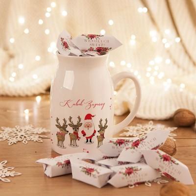 PREZENT świąteczny Kubek KANKA +krówki Z IMIENIEM Mikołaj i Renifery 450ml