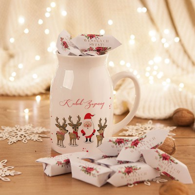 PREZENT świąteczny Kubek KANKA +krówki Z IMIENIEM Mikołaj i Renifery