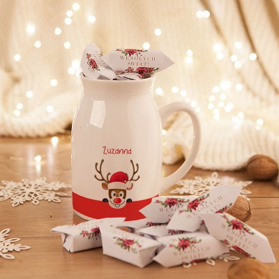 PREZENT świąteczny Kubek KANKA +krówki Z IMIENIEM Renifer 450ml