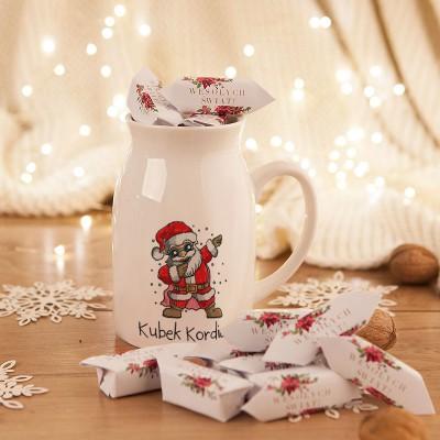 PREZENT świąteczny Kubek KANKA +krówki Z IMIENIEM Mikołaj 450ml
