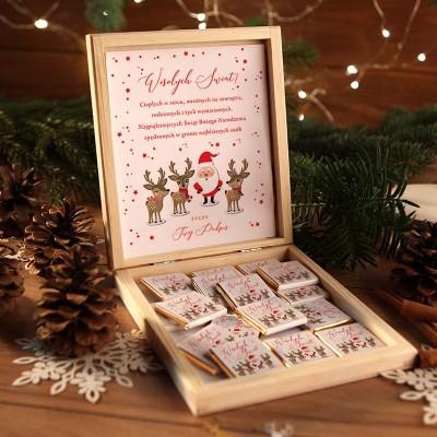 CZEKOLADKI na prezent świąteczny w pudełku TWÓJ PODPIS Mikołaj i renifery 12 sztuk