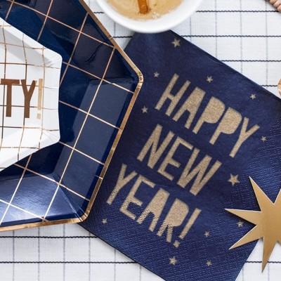 SERWETKI papierowe Blue&Gold Happy New Year 33x33cm 20szt