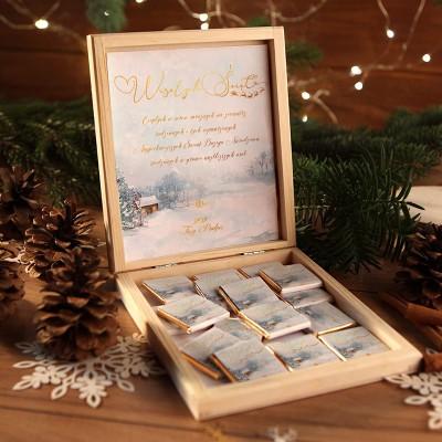 CZEKOLADKI na prezent świąteczny w pudełku TWÓJ PODPIS Magia Świąt 12 sztuk