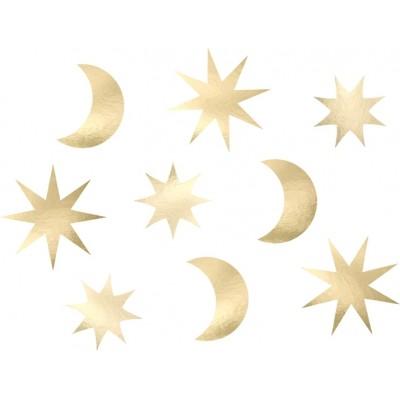 DEKORACJE papierowe Gwiazdki i Księżyce 9szt