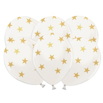 BALONY sylwestrowe białe w gwiazdki 6szt
